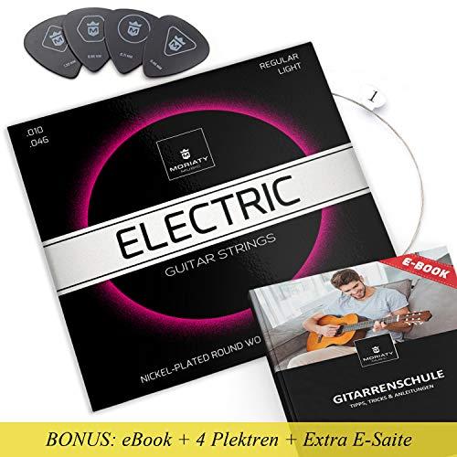 MORIATY® E-Gitarren-Saiten + 4 Plektren + Extra hohe E-Saite + eBook ☆ TESTSIEGER 2019¹ ☆ Premium Stahl-Nickel E-Gitarren Saiten (6 Saiten-Set)