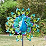 garden mile® Magnificent Peacock Solar Power Garden Wind Spinner | Colourful Exotic Bird