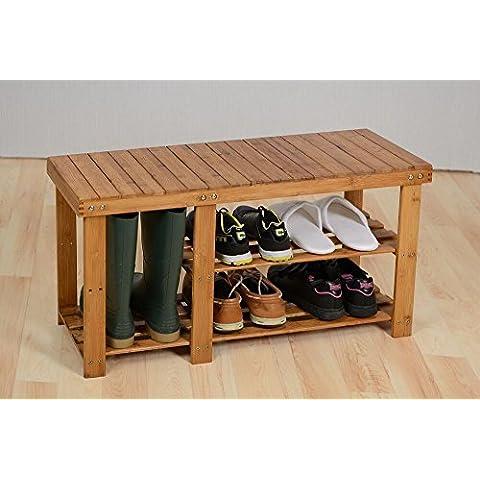 Generic YC-UK2–160920–67< 1& 6009* 1> LF unitbench soporte banco zapatero de rejilla de almacenamiento organizador soporte de madera 3niveles de bambú estantería 3niveles Madera