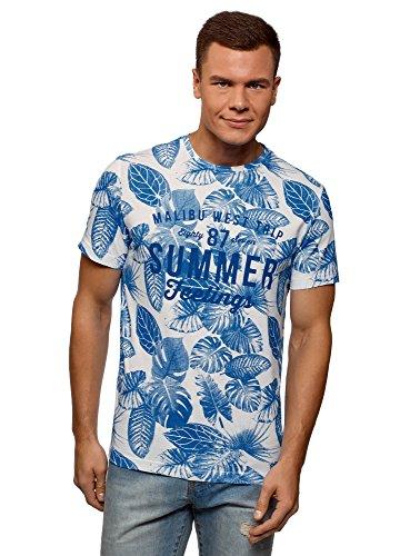 oodji Ultra Herren Baumwoll-T-Shirt mit Schriftzug, Weiß, XXL