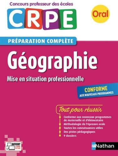 CRPE oral 2018. Géographie (mise en situation professionnelle) par Anne de Nadai