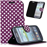 Purple White Polka Dot Leather Wallet Pouch Case Cover for Samsung Galaxy S3 i9300