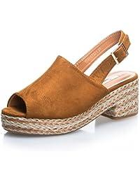 MFORSHOP sandali scarpe zeppa corda donna zatteroni eco scamosciata 1VA17321