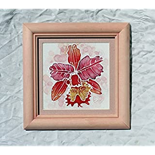 Picture Red Orchid Art/Wedding Gift/Wooden Frame/Miniature 6,21/6,21in/Silk Painting Framed/Red Orchid Picture/Wall Atr/Flower Artwork for Sale/Silk Gift.