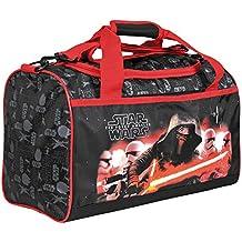 Bolso Deportivo Niño de Star Wars – Bolsa de deporte infantil de la guerra de las galaxias para el gimnasio, viajes y tiempo libre – Negro y Rojo - 24x38x18 cm – Perletti