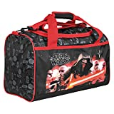 Kinder Sporttasche Jungen Star Wars - Trainingtasche mit Motiven aus Kylo Ren, perfekt für in die Turnhalle, auf Reisen oder in der Freizeit - Schwarz und Rot - 22x35x18 cm - Perletti