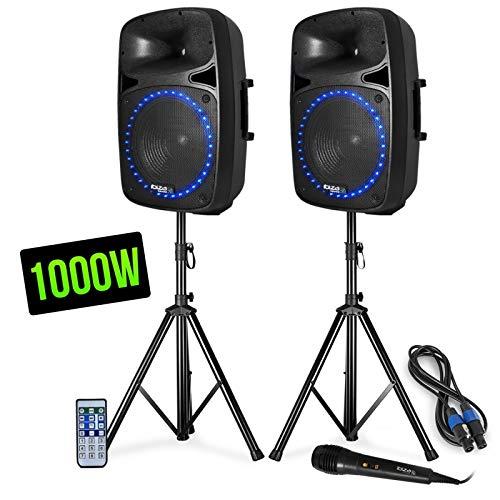 Pack sonorisation - LED/FM/USB/SD/BLUETOOTH - 15'/38cm 1000W - Ibiza Sound PKG15A-SET