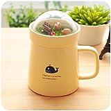 soleditm Creative Micro Landschaft caneca Milch und Kaffee Tasse 400mlhigh-capacity Büro Tassen aus Keramik, Elfenbein