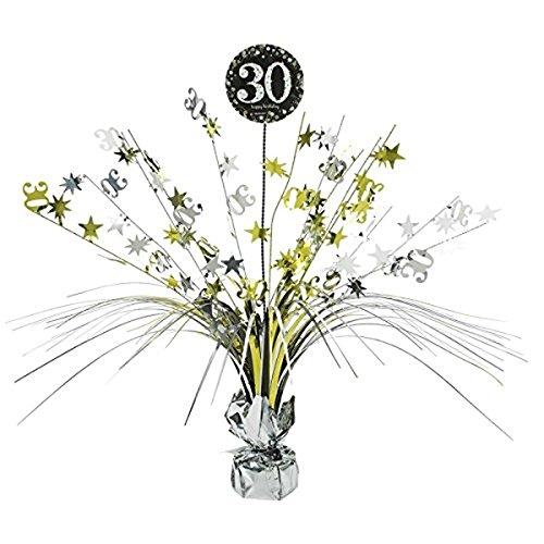 Preisvergleich Produktbild Tischdekoration, Tischkaskade zum 30 Geburtstag; Kaskade 46cm gold schwarz silber Glitter Dekoration Kaskade 30 Happy Birthday