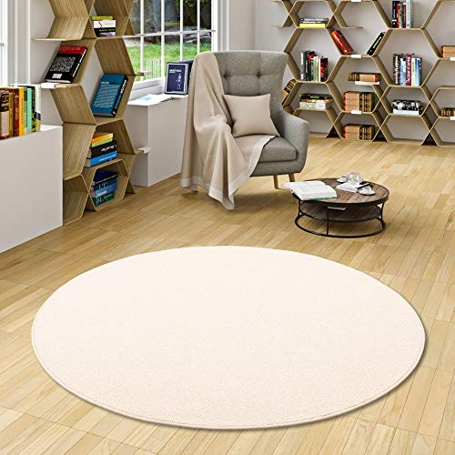 Natur Teppich Wolle Berber Weiss Rund in 7 Größen