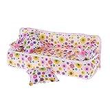 WDTongPuppe Sofa House Dollhouse Floral Bedruckte Dekoration Wohnzimmer Puppen Zubehör Stuhl Mini Möbel Blume Mit Kissen Kissen Kinder Kinder Spielzeug Mädchen Geschenke
