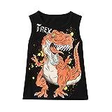 Tyoby Jungen Tops Ärmelloses Dinosaurier-Brief-T-Shirt Weste,Sommer Mode Bedrucktes Ärmellos T-Shirt(Schwarz,140)