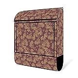 BANJADO Design Briefkasten schwarz | 38x47x13cm groß mit Zeitungsfach | Stahl pulverbeschichtet | Wandbriefkasten mit Motiv Alt Romantisch mit silbernem Standfuß