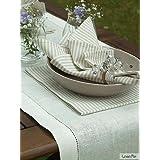 1 unidad. Camino de mesa Emilia de lino. Color blanco roto. LinenMe 50 x 140 cm.