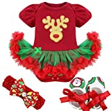 Tiaobug Baby Mädchen Bekleidung Set Langarm Weihnachten Strampler Stirndband Schuhe Beinwärme Weihnachtskostüm 3er Set 6-9 Monate