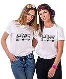Best Friends T-Shirts für 2 Mädchen Soul Sisters mit Aufdruck für Zwei Damen Sommer Oberteil Tops BFF Geschenke (Weiß + Weiß, S + XS)
