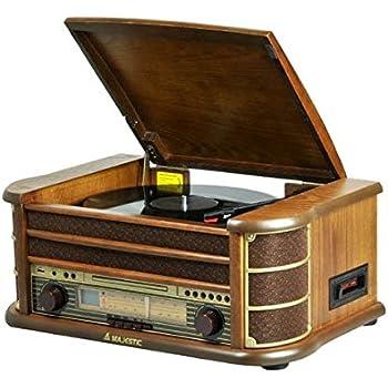 Majestic Giradischi TT-34 vinile in legno con ingressi USB, CD, Radio Tape funzioni di registrazione