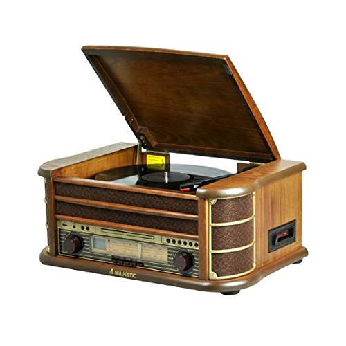 Majestic Giradischi TT-34 vinile in legno con ingressi USB, CD, Radio Tape...