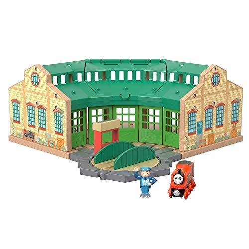 Thomas & seine Freunde GGG72 - Tidmouth Sheds Holzeisenbahn Spielset , Spielzeug ab 3 Jahren - Zug-depot Spielzeug