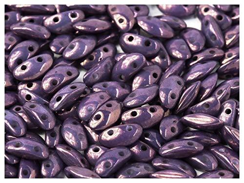 50 Stück MobyDuo® Bead® - Tschechische gepresste Glasperlen 3x8mm mit zwei Löchern in Form eines Buckelwals, Chalk White Lila Vega Luster (Opaque Mix Violet/Gold Ceramic Look) (Seed Projekte Bead)