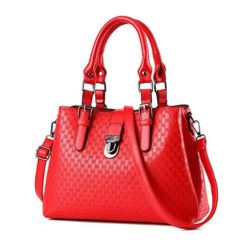 Myleas Donna Borsa a Tracolla Borsetta Shopper Borse con Cinturino Rosso