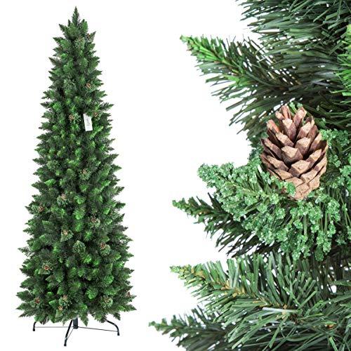 Fairytrees albero di natale artificiale slim, pino verde naturale, materiale pvc, vere pigne, incl. supporto in metallo, 220cm