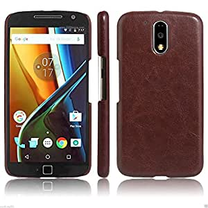 Americhome TM Series Artificial Leather Back Cover For motorola moto g 4 (Brown)
