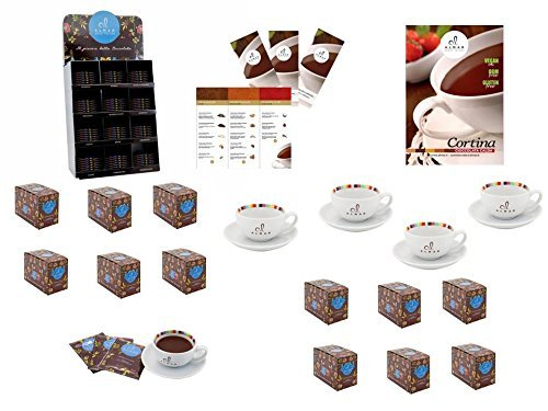 Hot chocolate professional Starter Kit 12 flavors + cups+ menu + desk totem+wall display case