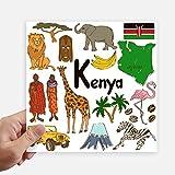 DIYthinker Kenia Landscap Animales Nacional Cuadrado de la Bandera Pegatinas Pared de 20 cm Maleta...