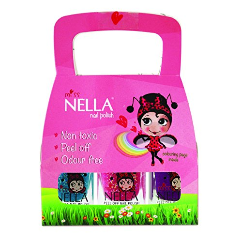 Miss Nella Kinder-Nagellack mit Glitzereffekt, 3er-Set: Sugar Hugs Jazzberry Jam & Under The Sea, Nagellack auf Wasserbasis, ablösbare Formel - Bio-spa-geschenk-set