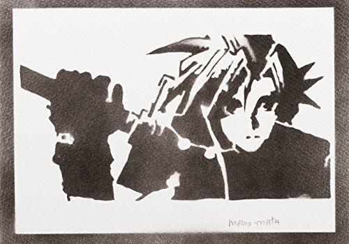 Poster Cloud Strife Final Fantasy Handmade Graffiti - Handmade Street Art - Artwork