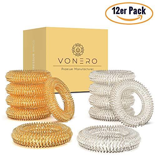 VONERO® Premium Akupressurring [12er Set] - Verbessertes Konzept 2019 - Finger Massage Ring - Akupressur Ringe | Massageringe für Handgelenk | Anti Stress Fingermassagering