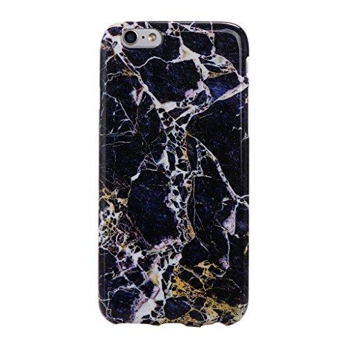 Coque iPhone SE / 5 / 5S, IJIA Ultra-mince Motif Marbre Naturel Blanc-Noir TPU Doux Silicone Bumper Case Cover Shell Coque Housse Etui pour Apple iPhone SE / 5 / 5S + 24K Or Autocollant color-KM2