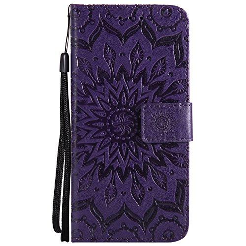 Kucosy Samsung Galaxy A8 2018 Schutzhülle Leder Flip Case Mode Retro Mandala Blume Muster Design Brieftasche Cover Schutzhülle Zubehör mit Kartenfach und Standfunktion für Galaxy A8 2018 (Blume Lila)