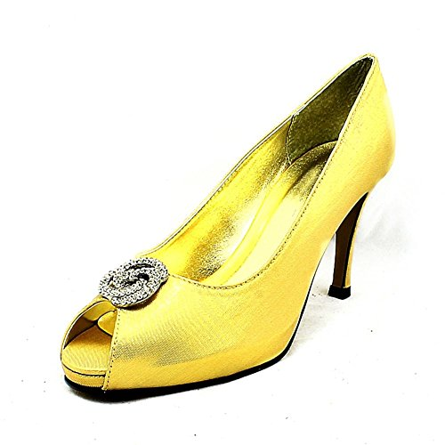 Shimmer Satin open toe tacco medio scarpe da sposa Oro