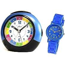 Set: Enfants Réveil + Montre bracelet pour garçon Bleu Analogique sans tic-tac Horloge Réveil d'apprentissage avec fonction snooze Lumière enfants–Atlanta 1678–5mâcher