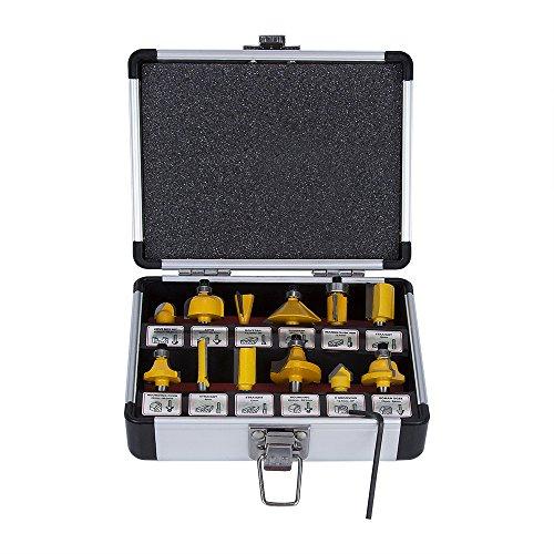 """SROL 12 teilig Fräsersatz Oberfräser Router Bit 1/4 \""""(6,35mm) Schaftdurchmesser Fräser Set Holzfräser Profilfräser Professional Holzbearbeitung Fräsen Werkzeug mit Aufbewahrungsbox"""