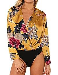 QinMM Body Camisa Floral con Estampado de Mujer Tuxedo, Blusa Manga Larga