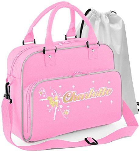 ing Girl Flowers - Rosa Pink - Personalisierte Tanztasche & Schuh Tasche Dance Bags MusicaliTee (Exklusive Kid Schuhe)