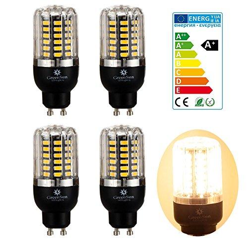 4×GreenSun 5W GU10 LED Energiespar Mais Birnen SMD 5736 Hochleistungs Lampen Warmes Weiß Wechselstrom 35W Glühlampe Equivalent