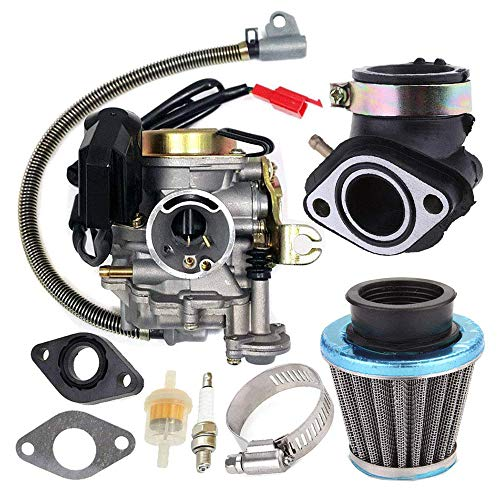 KKmoon Carburatore Adatto per GY6 50CC 49CC Motorino 4 Tempi Motore Taotao 18mm Carb Filtro Aria Collettore di Aspirazio