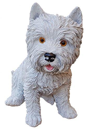 Fachhandel-Plus Deko-Figur West Highland Terrier weiß sitzend Hund Westie Gartendeko Tierfigur (Terrier Hund Highland Figur White)