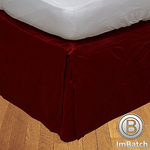 400TC, 100% cotone egiziano Elegant Finish 1Box Bund rughe Hose Copriletto massiccio (Drop lunghezza: 58,4cm), Cotone, Gold Solid, UK Small Double Blood Red Solid