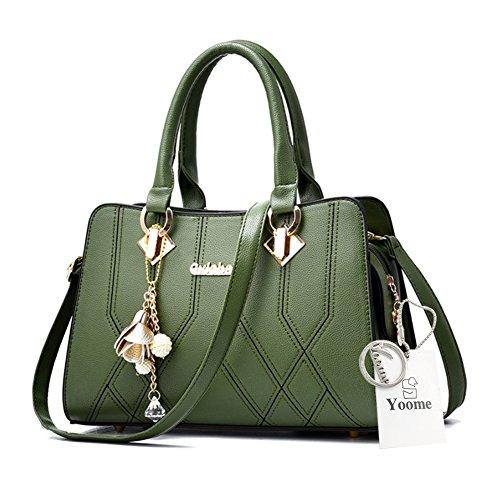 Yoome Medium Crossbody Handtaschen für Frauen Hardware Anhänger Top Handle Handtaschen Elegant Taschen - D.Pink Grün