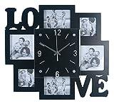 Foto Wanduhr   Bilderrahmen   Fotogalerie Uhr   für 6 Fotos   LOVE Schriftzug schwarz