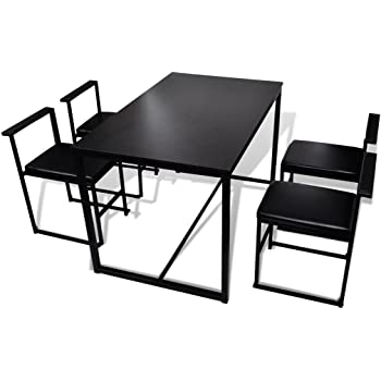 Mobilier Deco Ensemble Table + 4 chaises encastrable Noir et Blanc on