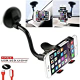 Mobias Retails, Combo Of USB LED Light And Soft Tube Holder For Windshield Dashboard Smartphone Car Holder For Mobile Phone.