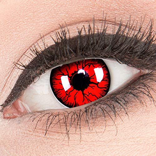 Funnylens Rote Kontaktlinsen 'Metatron' MIT STÄRKE - 1 Paar Farbige Crazy Fun Motivlinsen inkl. Behälter -3,00