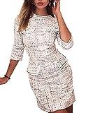 MISOMEE Damen Langarm Tweed Gefälschte Tasche Design Bodycon Modisch Kleid Weiß M