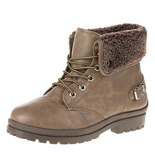 Damen Schuhe, 9917, STIEFELETTEN Hellbraun 32215